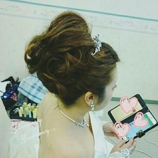 ヘアアレンジ 結婚式 ブライダル ゆるふわ ヘアスタイルや髪型の写真・画像