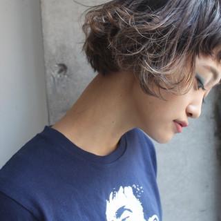 ハイライト ボブ ニュアンス 色気 ヘアスタイルや髪型の写真・画像