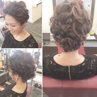 結婚式 ミディアム ゆるふわ 大人女子 ヘアスタイルや髪型の写真・画像