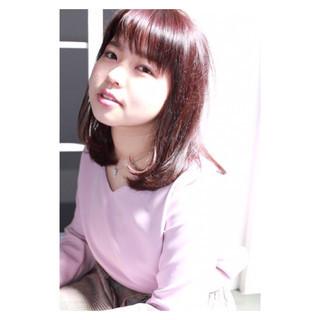ワンカール ピンク フリンジバング 前髪あり ヘアスタイルや髪型の写真・画像