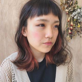 グラデーションカラー ブリーチ ミディアム ストリート ヘアスタイルや髪型の写真・画像
