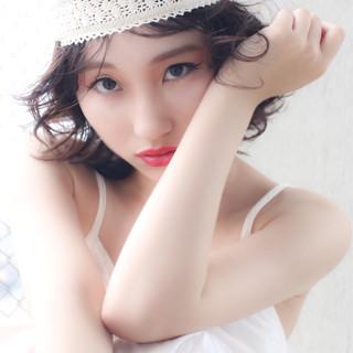 ショート ヘアアレンジ 夏 ガーリー ヘアスタイルや髪型の写真・画像