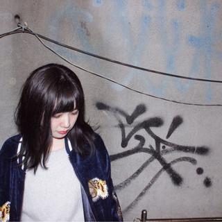 黒髪 ストリート ストレート 色気 ヘアスタイルや髪型の写真・画像
