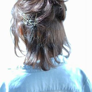 ヘアピン アッシュ 春 ボブ ヘアスタイルや髪型の写真・画像