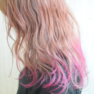 裾カラー セミロング 透明感カラー ミルクティーベージュ ヘアスタイルや髪型の写真・画像