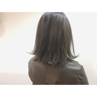 ナチュラル グレージュ ボブ ミディアム ヘアスタイルや髪型の写真・画像