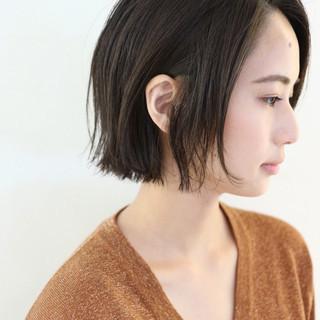 ミニボブ 地毛風カラー ナチュラル グレージュ ヘアスタイルや髪型の写真・画像