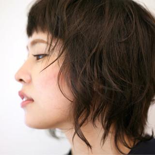 アンニュイ ウェーブ モード ミディアム ヘアスタイルや髪型の写真・画像