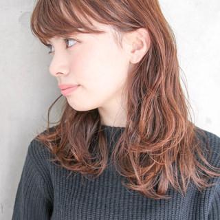 ゆるふわ ハイライト パーマ ミディアム ヘアスタイルや髪型の写真・画像