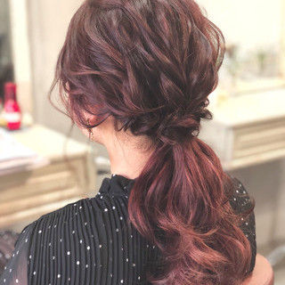 ナチュラル ヘアアレンジ デート ローポニーテール ヘアスタイルや髪型の写真・画像