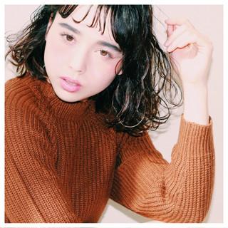 くせ毛風 黒髪 ヘアアレンジ ボブ ヘアスタイルや髪型の写真・画像