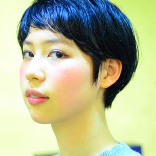黒髪 前髪あり ショート ベリーショート ヘアスタイルや髪型の写真・画像