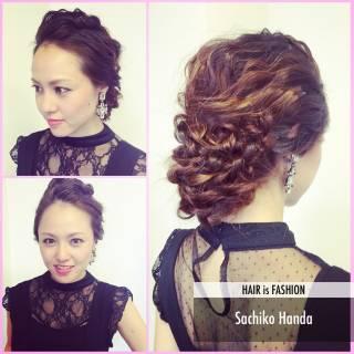ヘアアレンジ 結婚式 モテ髪 セミロング ヘアスタイルや髪型の写真・画像