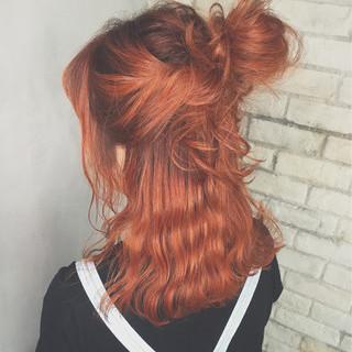 ミディアム ハーフアップ 簡単ヘアアレンジ ショート ヘアスタイルや髪型の写真・画像