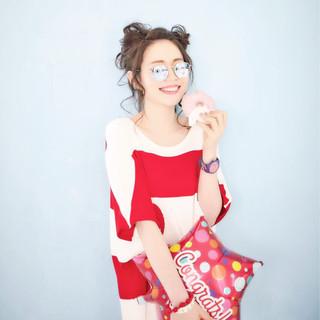 セミロング 猫耳 渋谷系 ヘアアレンジ ヘアスタイルや髪型の写真・画像