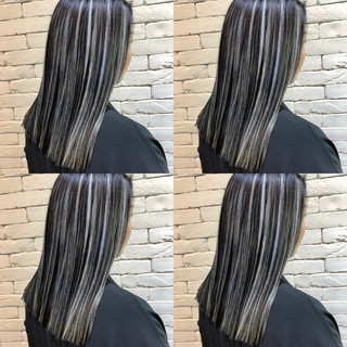 バレイヤージュ グラデーションカラー 外国人風 セミロング ヘアスタイルや髪型の写真・画像