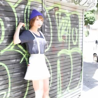 ナチュラル ショート ストリート ガーリー ヘアスタイルや髪型の写真・画像