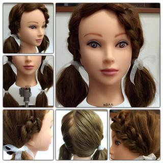 三つ編み 波ウェーブ ヘアアレンジ ツインテール ヘアスタイルや髪型の写真・画像