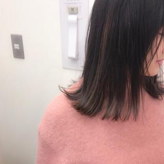 ハイライト ロブ 大人かわいい ブリーチ ヘアスタイルや髪型の写真・画像