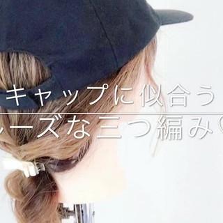 アウトドア デート ヘアアレンジ セミロング ヘアスタイルや髪型の写真・画像
