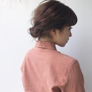 簡単ヘアアレンジ 結婚式 ミディアム ナチュラル ヘアスタイルや髪型の写真・画像