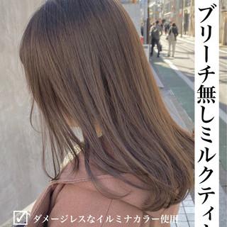 ロング ナチュラル イルミナカラー 切りっぱなしボブ ヘアスタイルや髪型の写真・画像