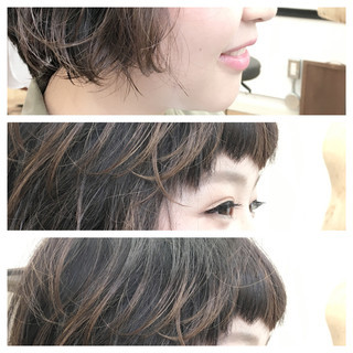 グラデーションカラー ベージュ ナチュラル パーマ ヘアスタイルや髪型の写真・画像