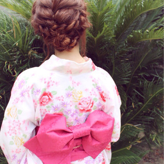 波ウェーブ お祭り セミロング ヘアアレンジ ヘアスタイルや髪型の写真・画像