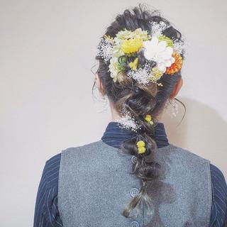 結婚式ヘアアレンジ ヘアアレンジ インナーカラー ブライダル ヘアスタイルや髪型の写真・画像