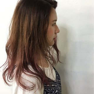 暗髪 外国人風 ハイライト ロング ヘアスタイルや髪型の写真・画像