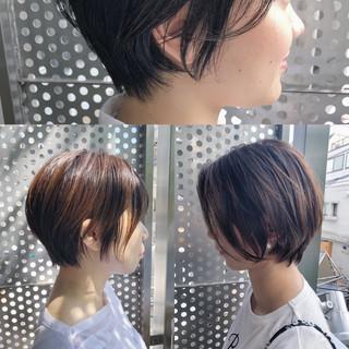 パーマ ヘアアレンジ 黒髪 ショート ヘアスタイルや髪型の写真・画像