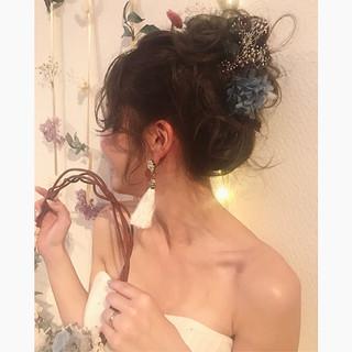 フェミニン ブライダル 結婚式 ヘアアレンジ ヘアスタイルや髪型の写真・画像