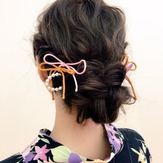 お祭り ヘアアレンジ 大人かわいい 夏 ヘアスタイルや髪型の写真・画像