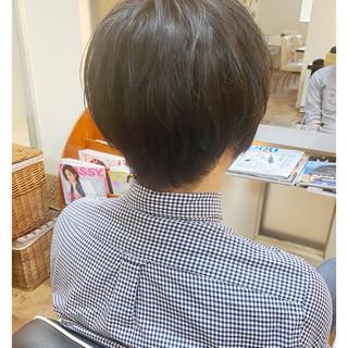 インナーカラー ナチュラル ショートボブ メンズスタイル ヘアスタイルや髪型の写真・画像