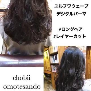 ゆるふわパーマ パーマ ゆるふわ セミロング ヘアスタイルや髪型の写真・画像