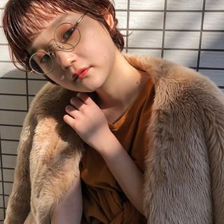 アプリコット ショートヘア アプリコットオレンジ ナチュラル ヘアスタイルや髪型の写真・画像