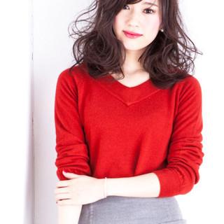フェミニン ニュアンス 大人かわいい ミディアム ヘアスタイルや髪型の写真・画像