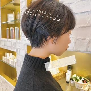 暗髪女子 ショートヘア デート 大人かわいい ヘアスタイルや髪型の写真・画像