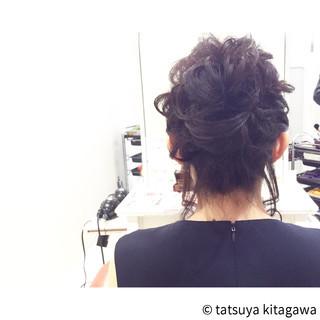 外国人風 セミロング お団子 上品 ヘアスタイルや髪型の写真・画像