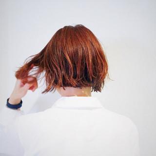 ワンレングス 外ハネ ブラントカット ボブ ヘアスタイルや髪型の写真・画像