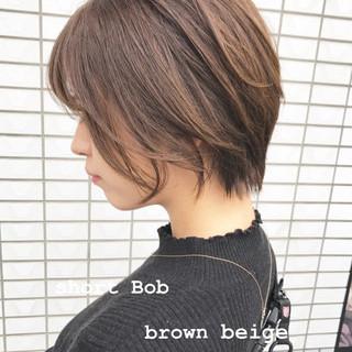 アッシュ ナチュラル ブラウンベージュ ボブ ヘアスタイルや髪型の写真・画像