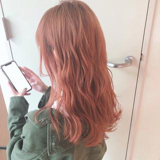 ゆるふわ ガーリー 透明感 アプリコットオレンジ ヘアスタイルや髪型の写真・画像