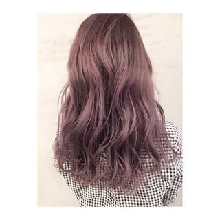 ラベンダーアッシュ ガーリー ロング ラベンダー ヘアスタイルや髪型の写真・画像
