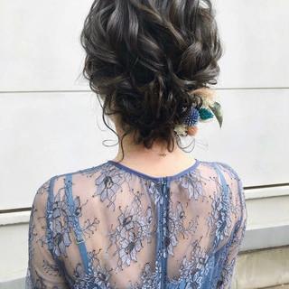 ゆるナチュラル フェミニン ヘアアレンジ ボブ ヘアスタイルや髪型の写真・画像