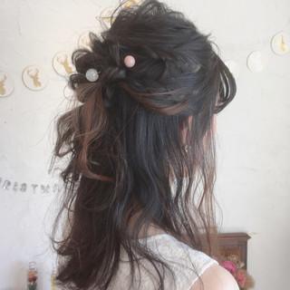 エレガント セミロング 結婚式 ハーフアップ ヘアスタイルや髪型の写真・画像