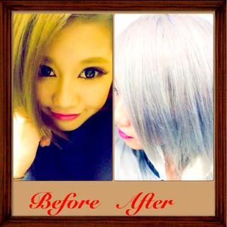 ホワイト ガーリー 渋谷系 グレー ヘアスタイルや髪型の写真・画像