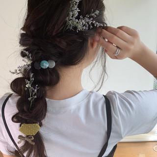 編みおろし 編みおろしヘア 簡単ヘアアレンジ ガーリー ヘアスタイルや髪型の写真・画像