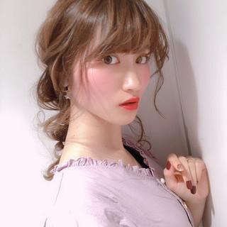 ヘアアレンジ セミロング 編みおろし 結婚式 ヘアスタイルや髪型の写真・画像