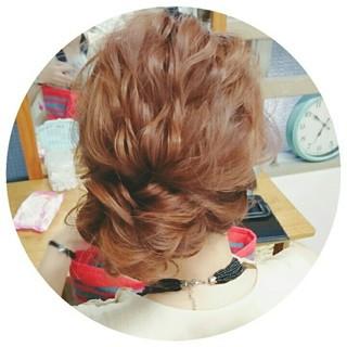 セミロング 大人かわいい 波ウェーブ ヘアアレンジ ヘアスタイルや髪型の写真・画像