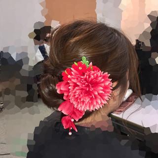 成人式 着物 フェミニン セミロング ヘアスタイルや髪型の写真・画像 ヘアスタイルや髪型の写真・画像